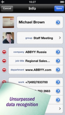 ABBYY Business Card Reader 5.0 для iPhone
