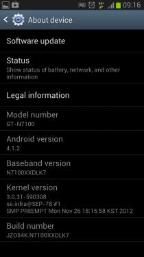 Samsung Galaxy Note II обновляется до Android 4.1.2