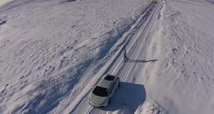 Сноубординг с Lamborghini Huracan, как новая идея для зимних видов спорта (видео)