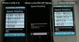 Nokia Lumia 800 в бенчмарках браузеров проигрывает  iPhone 4 и iPhone 4S