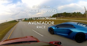 Lamborghini Aventador и Tesla Model S P85D посоревновались в драг-гонке: видео