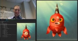 Приложение Adobe Character Animator использует веб-камеру, чтобы анимировать пользовательские иллюстрации