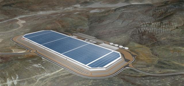 Огромный завод по производству аккумуляторов Tesla Gigafactory
