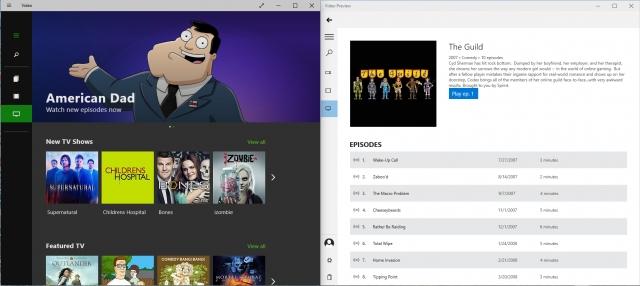 Новые приложения для музыки и видео в пробной версии Windows 10