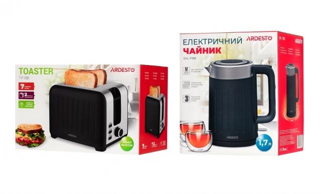 Новинки в асортименті ДПТ Ardesto: електрочайник EKL-F18B та тостер T-F18B