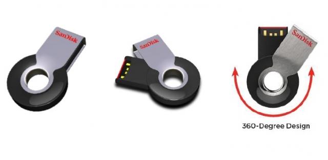 Новая флешка SanDisk Cruzer Orbit USB Flash Drive - поворот на 360º