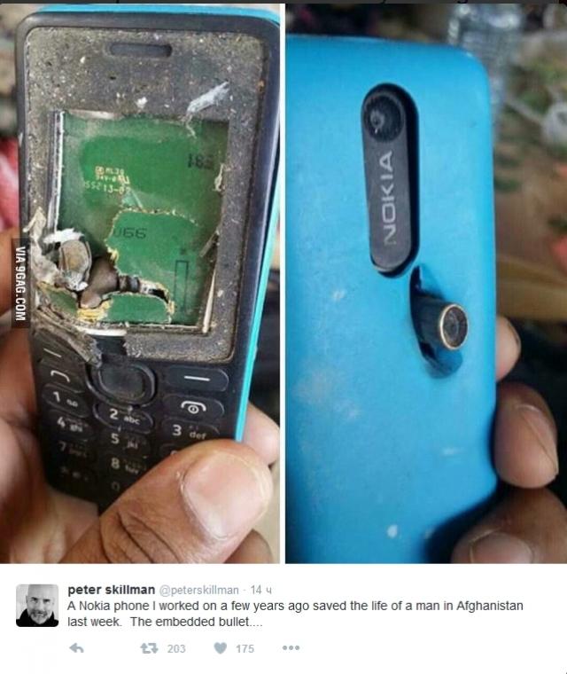 Телефон Nokia остановил пулю, чем спас жизнь человека