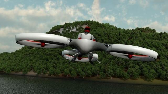 Первый пилотируемый полет на персональном трикоптере Flike