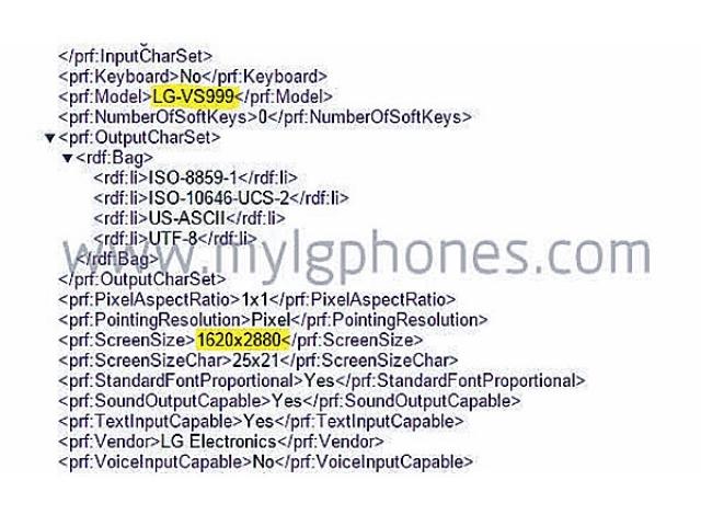 Скриншот показывает, что LG G4 имеет экран с разрешением 3К