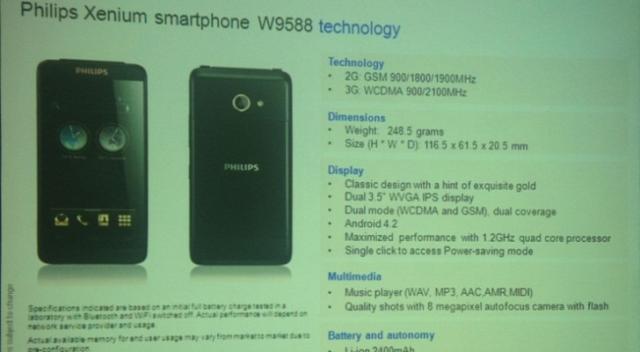 Xenium W9588 - новый бюджетный смартфон от Philips