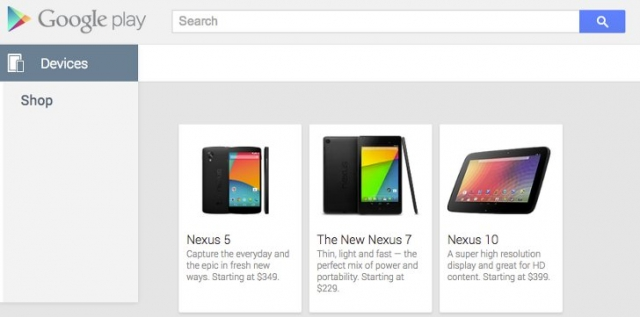 Nexus 5 появился в Google Play Store за 9 (€255)