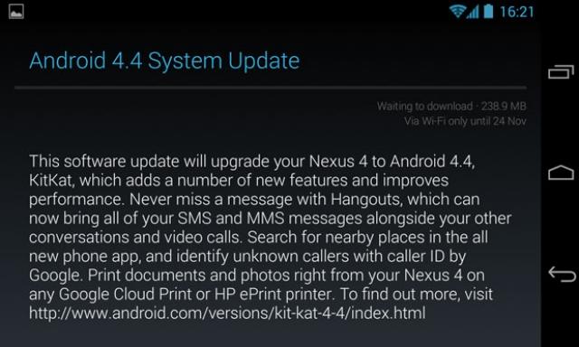 Android 4.4 KitKat доступен для Nexus 4