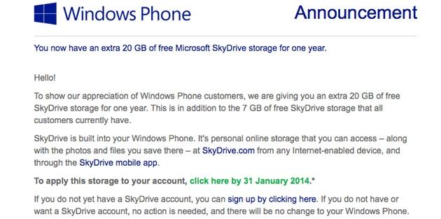 У вас Windows Phone? Получите бонусные 20 ГБ на SkyDrive