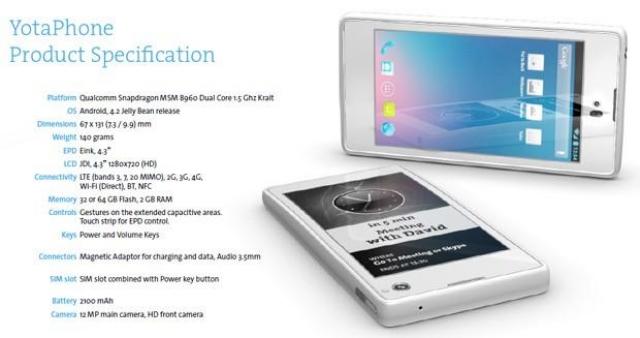 Выход YotaPhone с двойным дисплеем запланирован на 2013 год