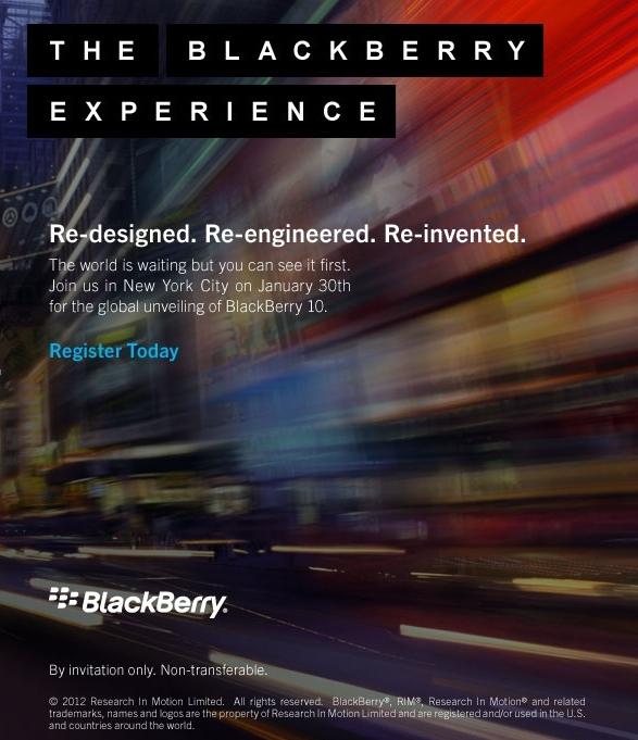 RIM приглашает на презентацию Blackberry 10