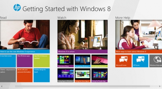 HP выпустила приложение «Приступая к работе с Windows 8»