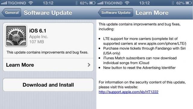 Apple выпускает  iOS 6.1