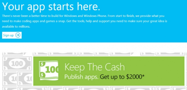 Microsoft будет платить за новые приложения для Windows 8