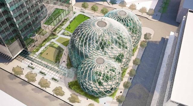 Amazon превратит штаб-квартиру в Сиэтле в гигантскую оранжерею