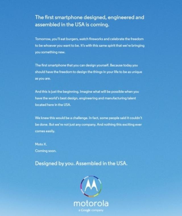 Реклама Motorola X намекает на  возможность выбора конфигурации