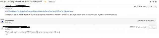 Гейб Ньюэелл отрицает, что Half-Life 3 не находится в разоработке