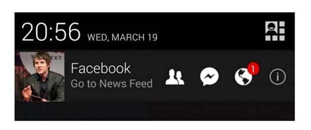 Экспериментальное меню уведомлений Android вмещает ваше фото из Facebook
