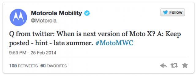 MWC 2014: Motorola рассказала, когда состоится презентация нового Moto X