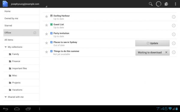 Изменения в Google Docs для Android: оффлайн доступ, улучшенный интерфейс для планшетов
