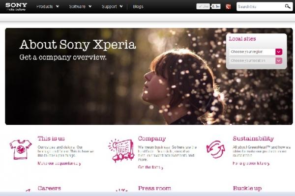 Sony запустила новый сайт - sonymobile.com