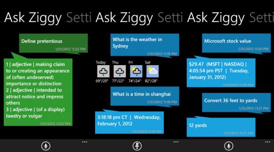 Siri для Windows Phone 7.5 или приложение AskZiggy получает большое обновление