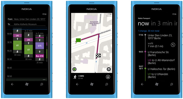 Приложение Nokia Transport для Windows Phone 7