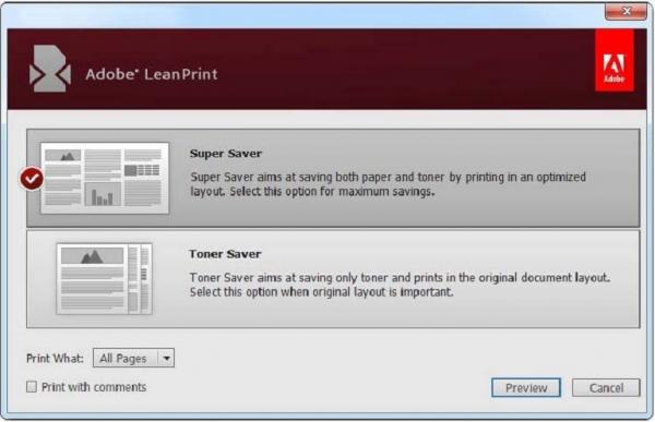 Adobe LeanPrint позволяет сократить расходы на печать до 40%