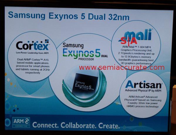 SoC Samsung Exynos 5: 2 ядра Cortex A-15, 4-хядерный GPU Mali T-604 с поддержкой DirectX 11